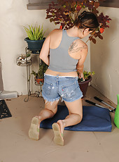 Mature brunette Ashley S pulls off her denim shorts to pose nude