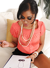 30 year old secretary Yasmine DeLeon from AllOver30 inserts pearls