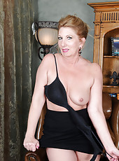 53 year old housewife Shelly Sands shows off her mature pussy here