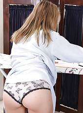 Cute and sexy 33 year old Chance breaks from housework to spread