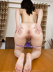 Pale 30 year old Honesty from AllOver30 pulling her ass cheeks wide