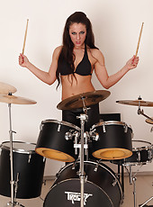 Rocking out with drums Valentina Ross gets naked for the camera