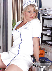 48 year old Sherri Donovan palys chef and gets steamy in the kitchen