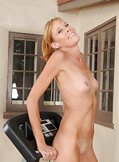 Skinny 36 year old Stacey Y takes a break from her workout and strips