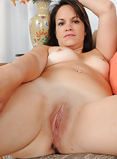 Elegant 30 year old Ashley S from AllOver30 slowly strips and spreads
