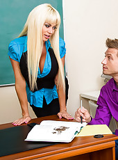 Bill just can't seem to pass Ms. Von James' class. He's taken the class three times and still gets every question wrong on the final. He reveals to her that if he actually does pass her class he won't be able to see her anymore. She le