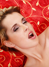 Luxurious blonde haired Anilos model flaunts her smooth silky body after stripping