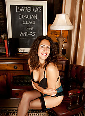 Naughty teacher Isabella giving Anilos lesson