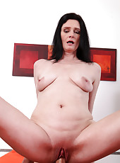 Horny Anilos milf sits on a big hard cock and takes a cum load on her ass