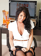 Hot milf secretary flaunts her bra and panties under her business attire