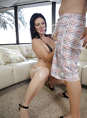 Naughty cougar with giant tits seduces her pool boy and eats his cum
