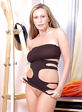 Anilos pandora is ravishing in her skin tight black dress with peek a boo holes revealing her silky skin