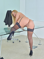 The hottest secretary you will ever see spreads open her juicy twat