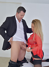 Insatiable mature milf sucks and fucks her mans throbbing hard cock