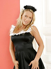 Sinful Anilos blonde Vivien dresses up in her maid outfit to perform her chores