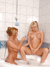 Hot lesbians action in the bathroom