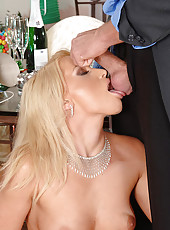 Kathia sucking cock at NYE party