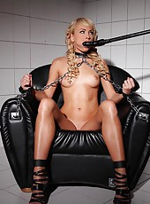 Bound Blonde Is Fucked With A Dildo