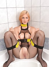 Naughty Bound Blonde Pees In Bowls