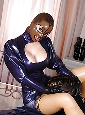 Latex Lucy Sucks & Fucks Two Cocks