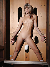 Blonde babe Gina bound in cabinet