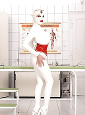 Latex babes go wild in the clinic!