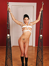 Naked Nikol getting bound with rope