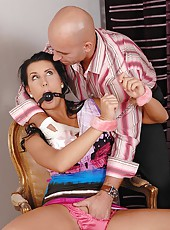 Bound babe Melissa Ria gets spanked