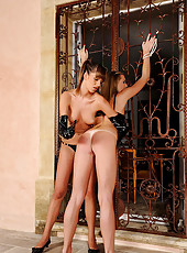 Wild young babes spanking in latex