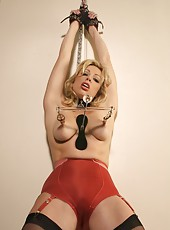 Adrianna nipple clamps and gags