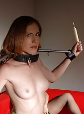 Bound Lolly Cat pisses her panties