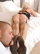 Blonde Footjobs in Nude Stockings