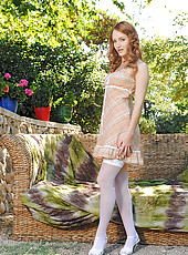 Sexy Redhead In White Thigh Highs