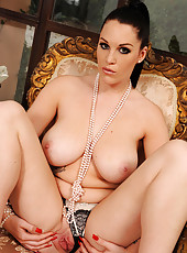 Paige and her pearls licking toe!
