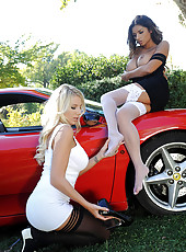 Leggy beauties rock it on the car!