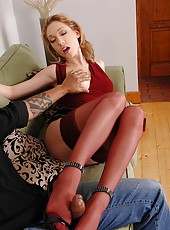 Secretary Lily LaBeau doing footjob
