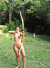 Sexy Eve Angel poses naked outdoors