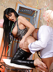 Alison gives Footjob for New Year!