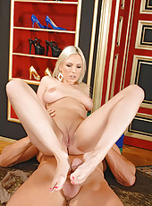 Alexis doing footjob in stockings