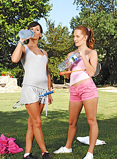 Denisa & Stacy playing hot outdoors