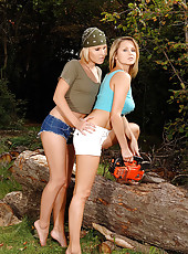 Leggy blondes playing in the woods