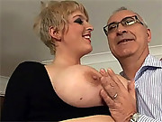 British senior fucking a blonde streetslut with big tits