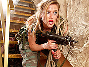 Curvy soldier babe surrenders her ass for a cock inside it