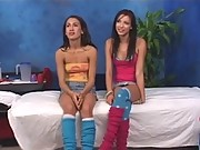 two 18 year old brunettes take it hard for their massage therapist
