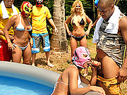 Hot brazilian babes play dress up in a bikini pool party then get threeir banging bodies rammed hard in these hot vids