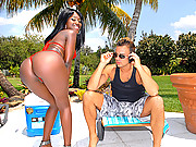 Check this hot big booty ebony babe get fucked hard by the pool after a cock sucking in these bikini vids