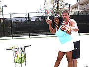 Super hot fucking ebony babe gets fucked hard by her coach in these hot vids