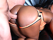 Super hot brown sugar babe gets nailed in the ass with a huge dong then gets cumfaced by her tennis coach