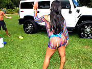 Banging hot ass bikini babe gets her round ass wet and pussy fucked at the car wash in these hot outdoor fucking and cum faced pics