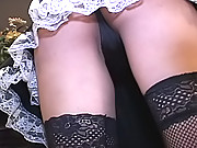 Rina Matsuoka slutty Japanese maid gets her hairy pussy covered in a cum load
